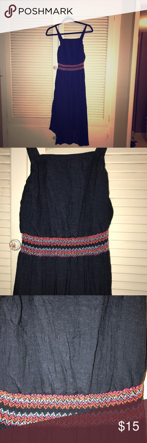 Hot pink and orange dress  Girls summer dress Dark blue with colorful waist Great condition