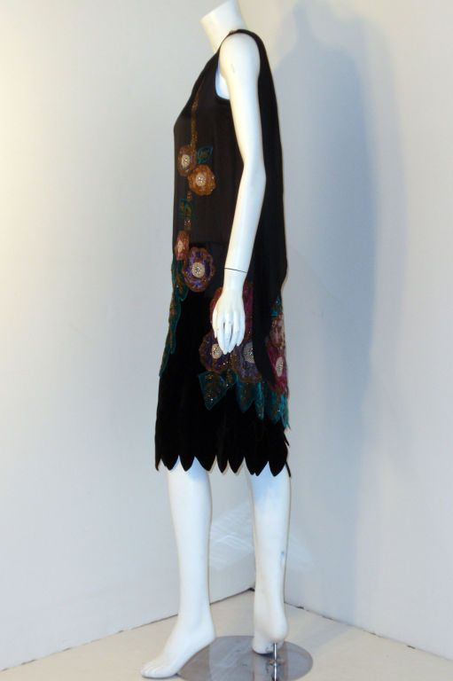 043d3b4b7102 Vintage Black Beaded and Velvet Applique Dress, Circa 1920s | From a  collection of rare