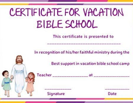 Vbs Certificate Of Completion Template