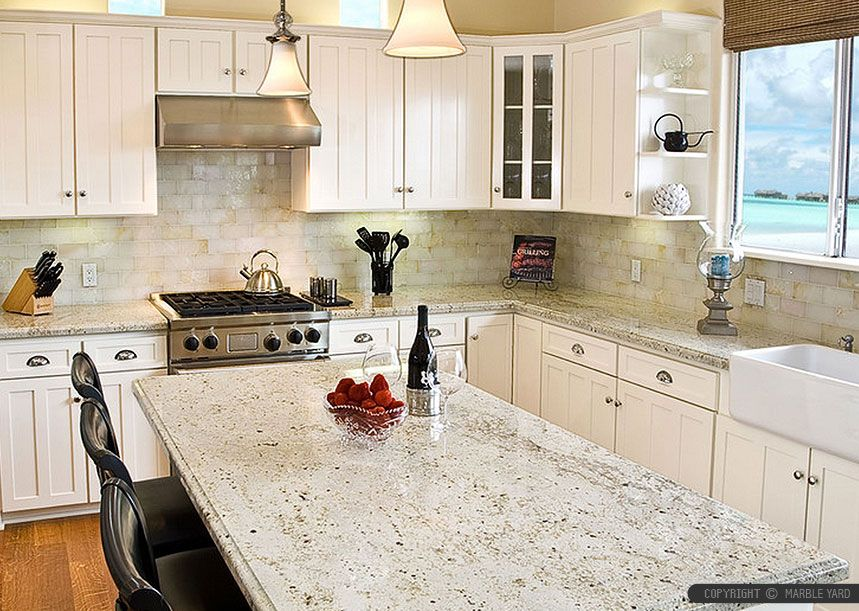 white onyx backsplash tile idea, kashmir white granite countertop