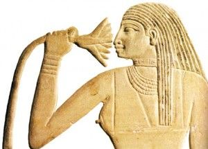 4th dynasty Great Royal Wife MeresAnkh, inhaling the scent of a water lily blossom. The clinical effects of Nymphea caerulea, that contains the psychoactive alkaloid apomorphine was known to the Ancient Egyptians.