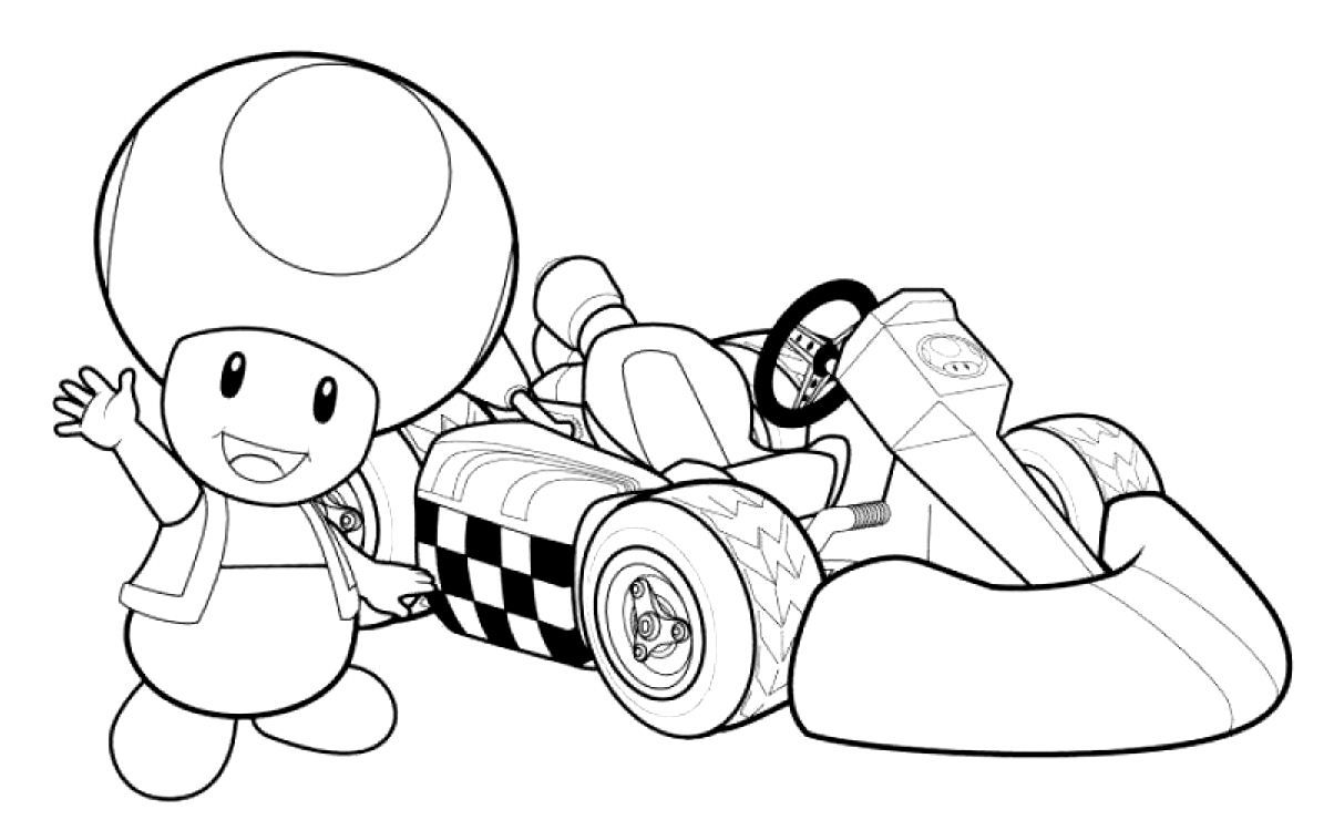 Toad Mario Kart Racing Coloring Pages Video Games Boys Free Online And Printable