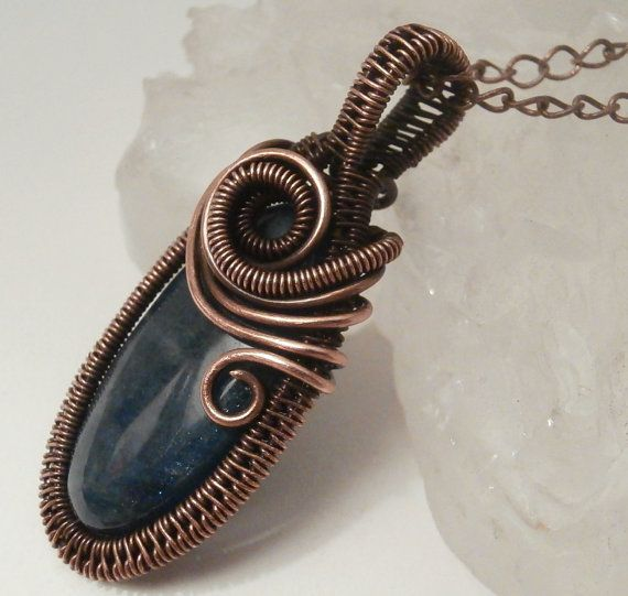 Wire Wrapped Jewelry, Pendant Necklace, Apatite Gemstone and Copper ...