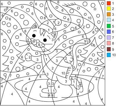 Chat colorier avec code couleur ecole pinterest malen nach zahlen malen nach zahlen - Chat a colorier maternelle ...