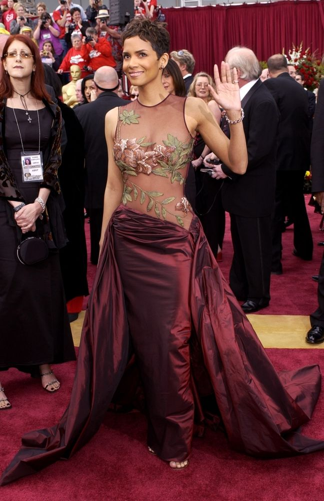 Image result for Halle Berry's nude-topped dress in 2002