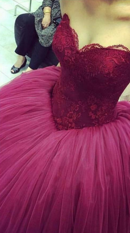 99cf2dc029c Glamorous Big Ball Gown Prom Dresses Burgundy Off-Shoulder Sweetheart Lace  Fully Lined Puffy Quinceanera Gowns Plus Size Wedding Party Gown