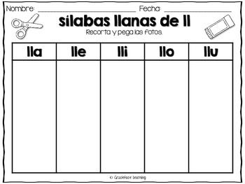 Mega Syllables Pack 6 For Bilingual Students Spanish With