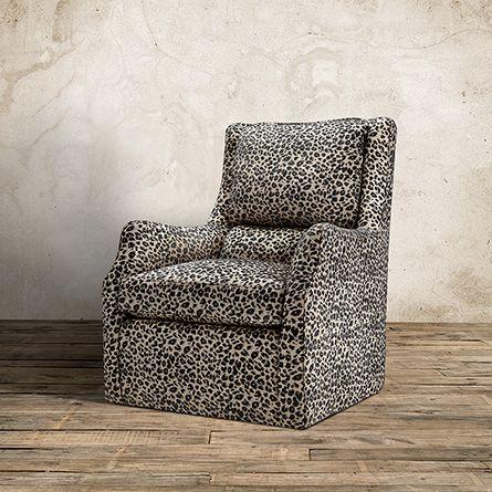 Alex Upholstered Swivel Chair  And  A  Half In Ephesus Pewter   Arhaus  Furniture