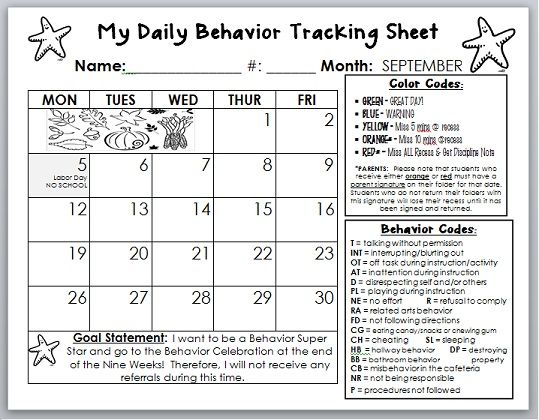 behavior calendar template I am going to tweak this to fit my class - Calendar Class