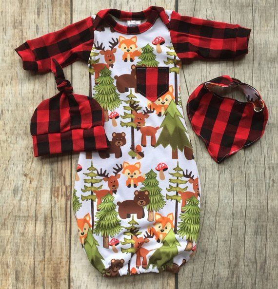 Photo of Woodland baby gown set, buffalo plaid outfit, baby shower gift, going home outfit, baby boy gown, rustic nursery, hospital gown
