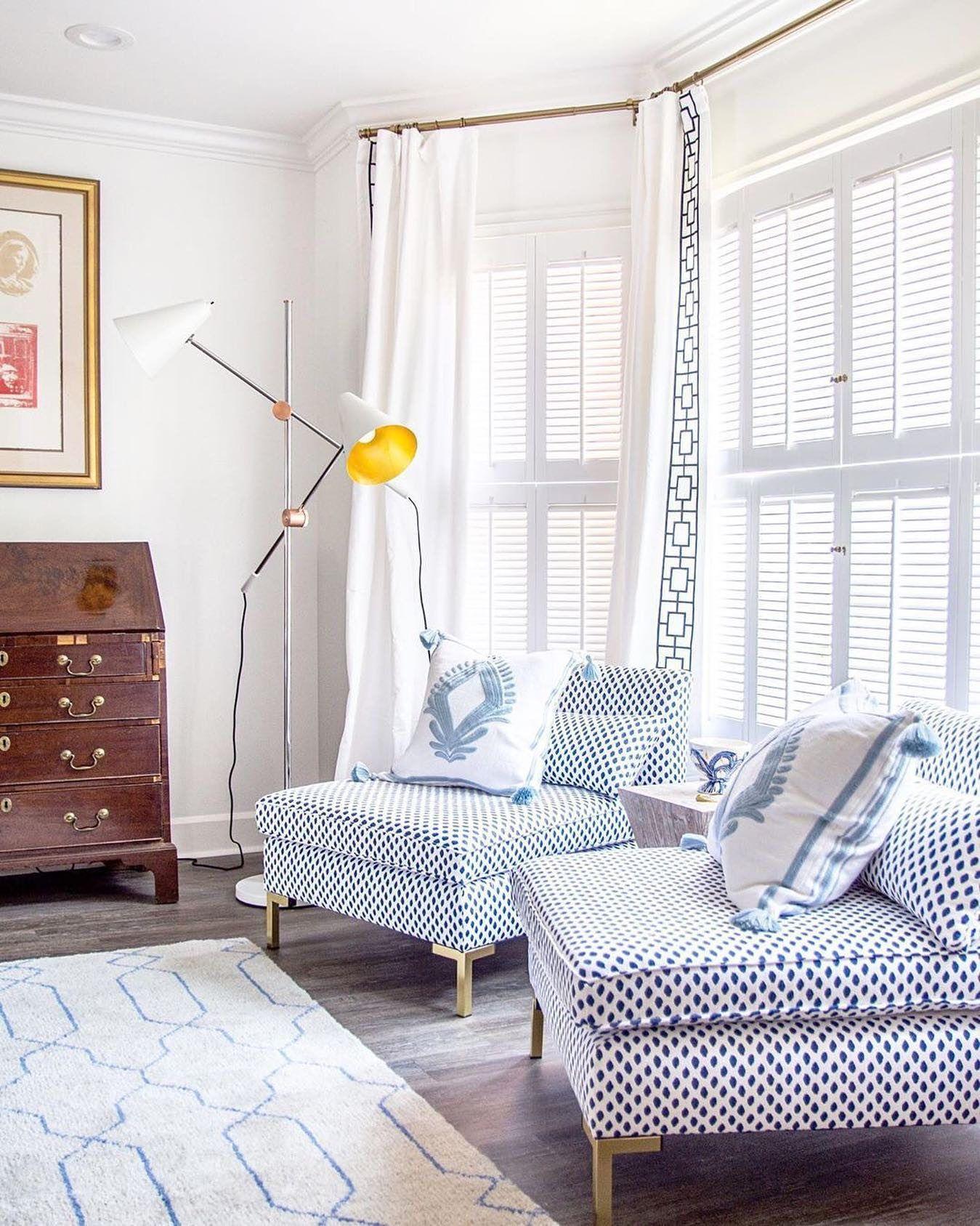 Marceau Slipper Chair Navy Dot Blue Hues Bedroom Living Room Windows Home Decor Slipper chair living room