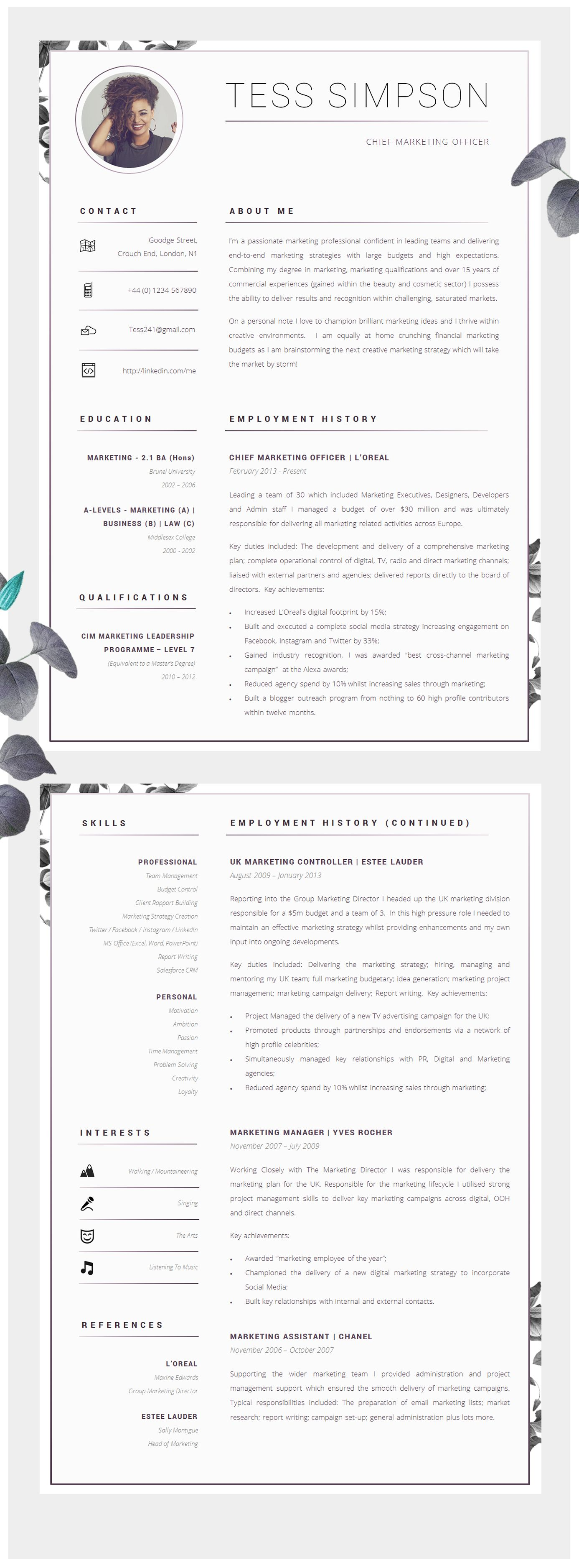 Two Page Resume | Cv Template Creative Resume Template Two Page Professional Cv