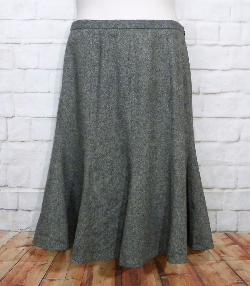 Womens EDDIE BAUER Gray Tweed Wool Blend Lined Knee Length Trumpet Skirt  Size 8 16ce60a2c182