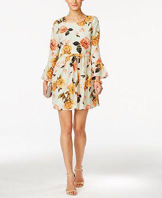 f3bd7d4694df CeCe by Cynthia Steffe Floral-Print Bell-Sleeve Dress - CeCe by Cynthia  Steffe - Women - Macy's