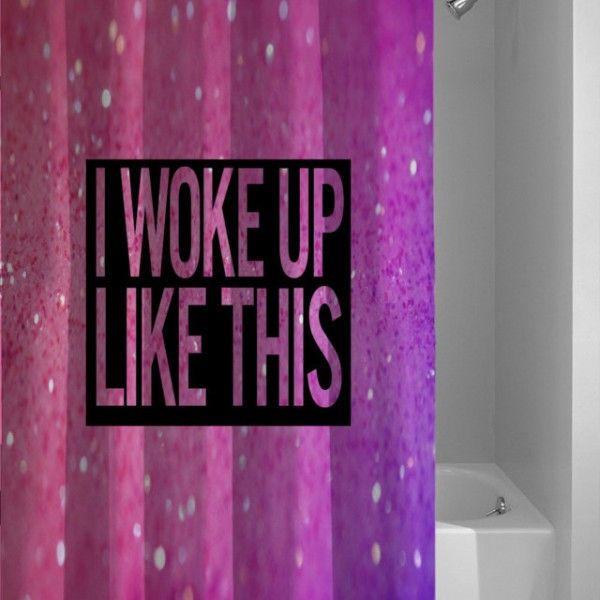 New Beyonce I Woke Up Like This Quote Pink Printed Gliter Custom Shower Curtain