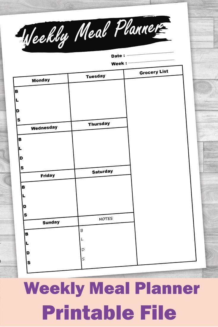 Printable Meal Planner Weekly meal planner Meal Planning Weekly menu planner Food planner