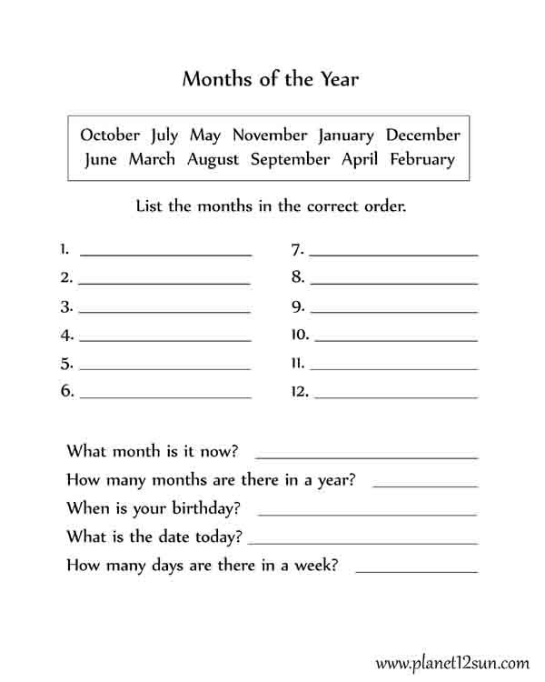 Free Printable Calendar Worksheets