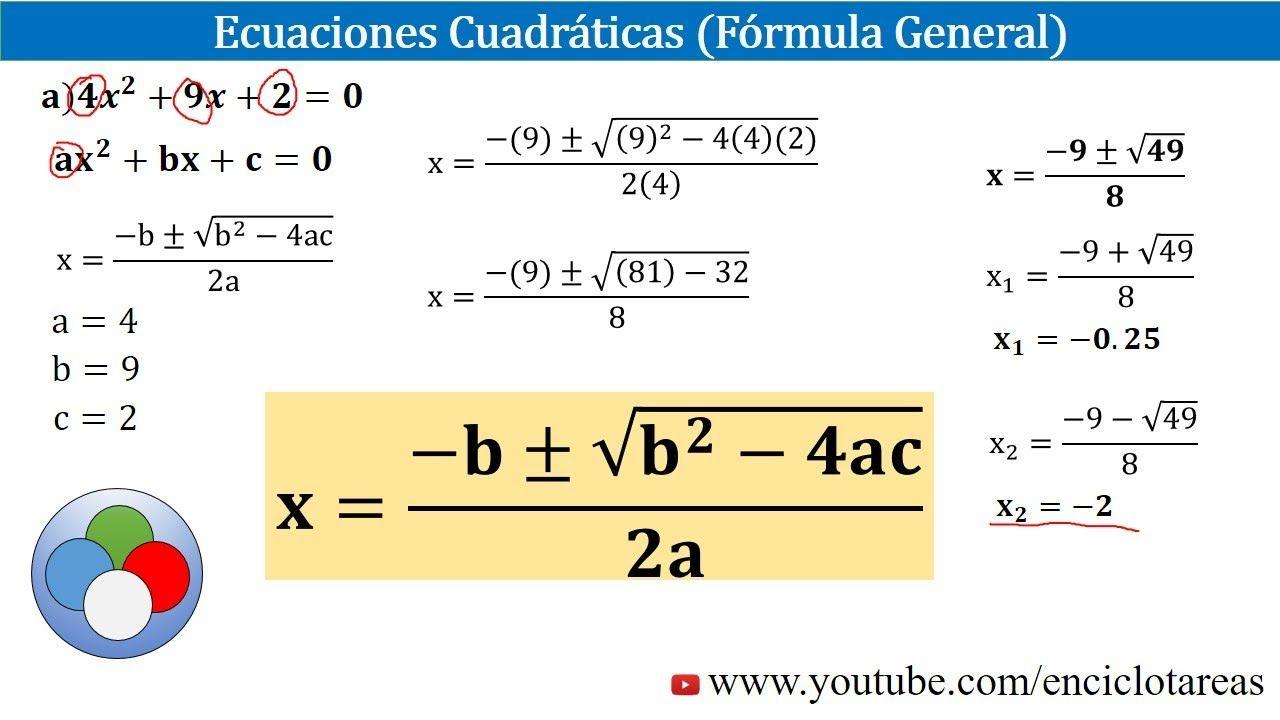 Ecuaciones De Segundo Grado Fórmula General Youtube Ecuaciones Cuadraticas Ecuaciones Videos Matematicas