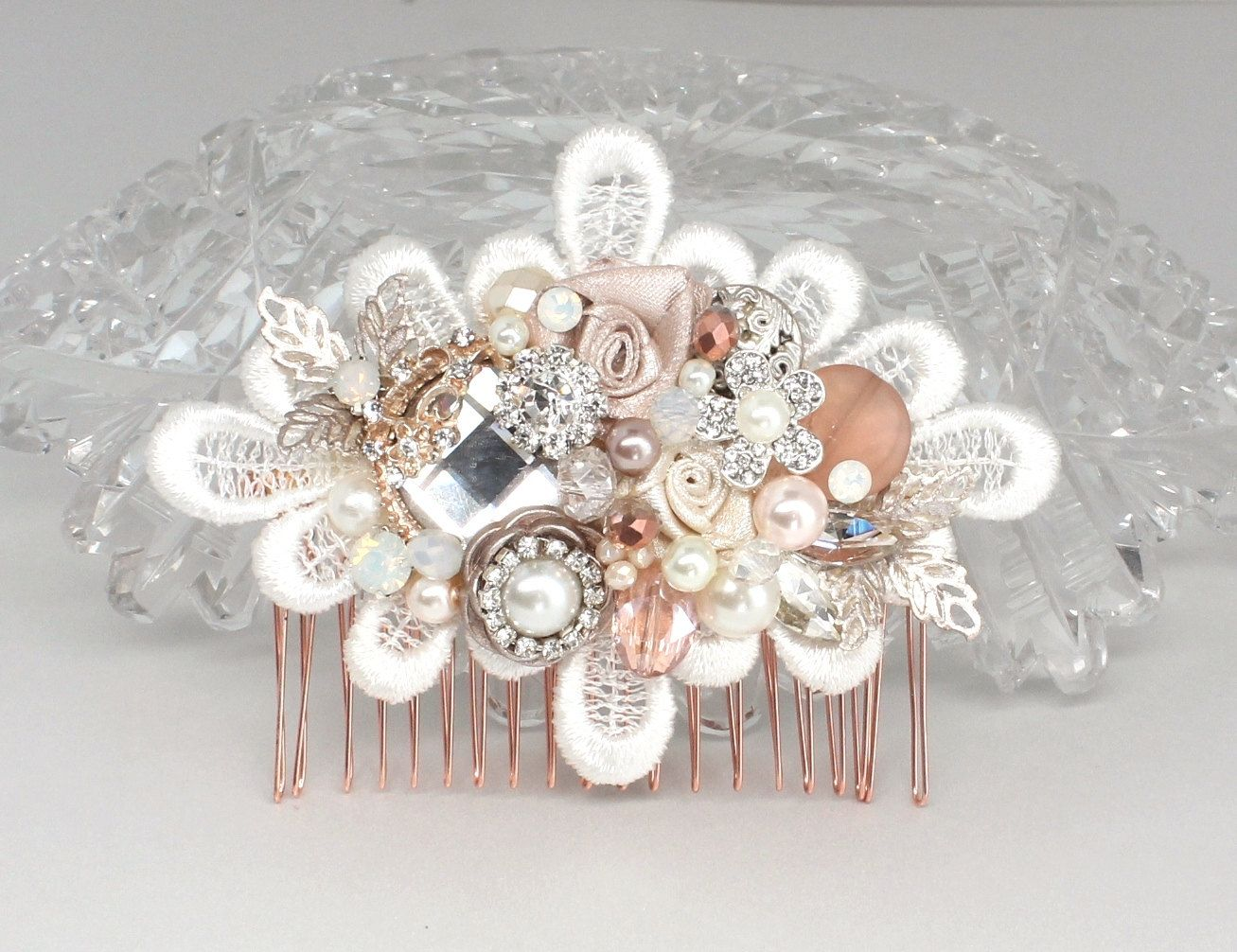rose gold bridal comb-bridal hair accessories-rose gold hairpiece