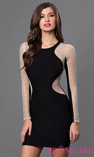 c37bb2e7ea8cb Long Sleeve Short Black Dress with Silver Stud Detailing at PromGirl.com
