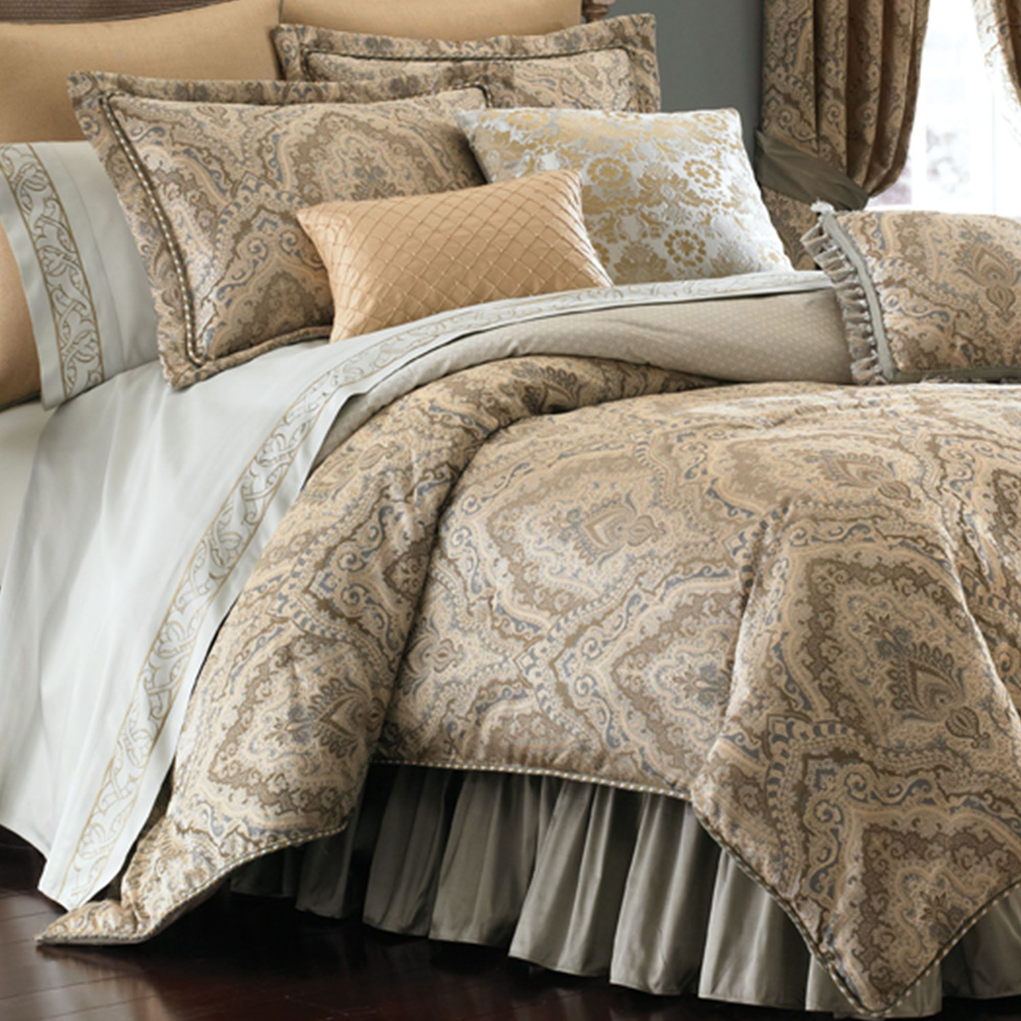 Black And Cream Damask Bedding - Distinction damask comforter bedding by croscill