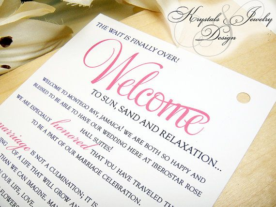 Welcome Card / Itinerary Card Double Sided by KrystalsJewelNDesign ...