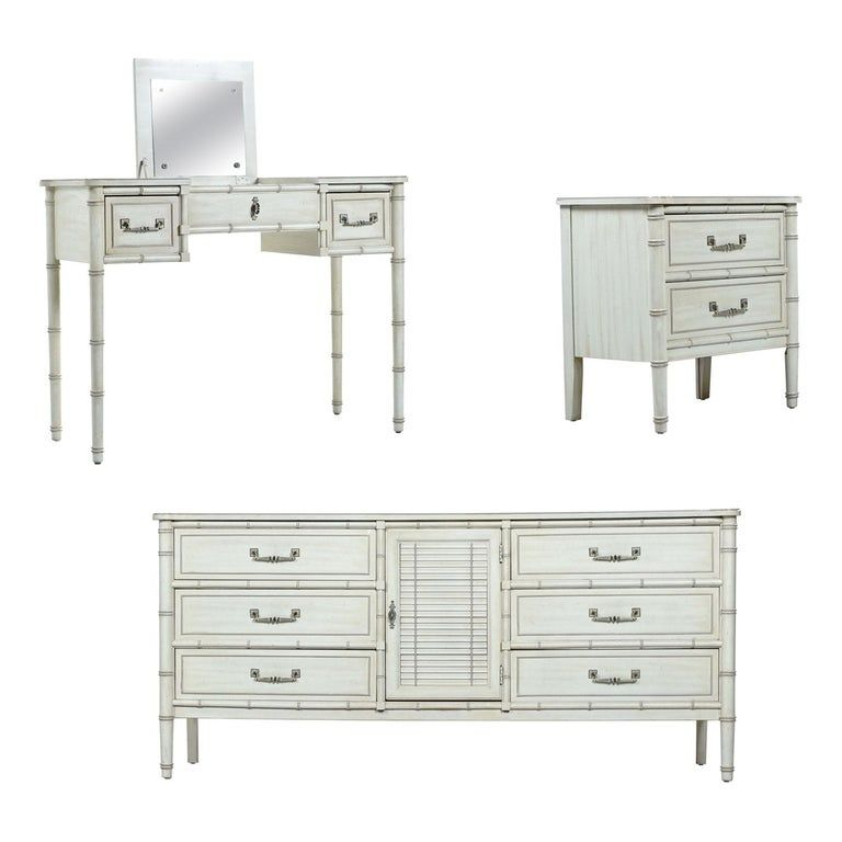 Faux Bamboo Midcentury Factory White Washed Bedroom Dresser And Nightstand Set Faux Bamboo Low Dresser Bedroom Furniture Sets