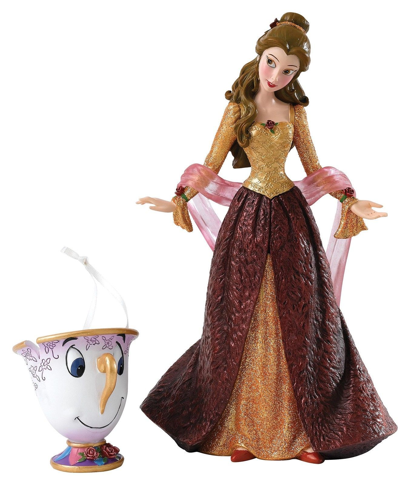 Enesco 4053349 Dssho Christmas Belle Chip Ho Figurine Beauty And The Beast Disney Traditions Disney Figurines