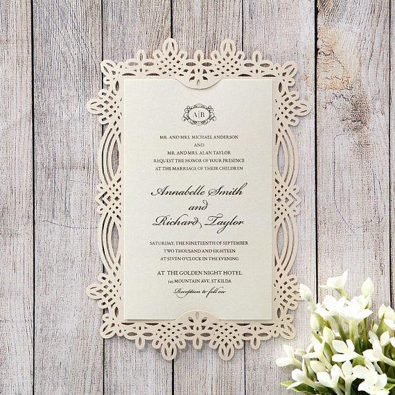 victorian inspired frame wedding invitation laser cut 114111