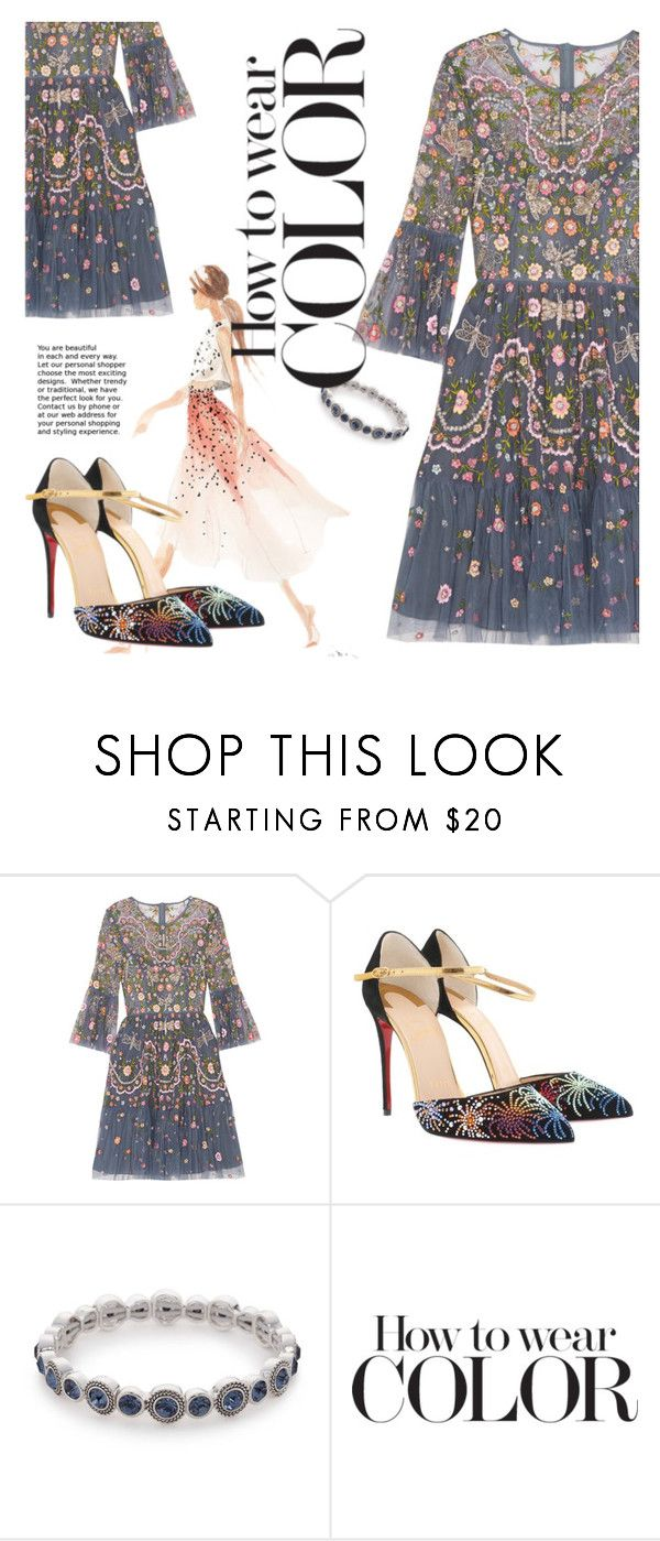 """""""0602"""" by fanfanfanfannnn ❤ liked on Polyvore featuring Needle & Thread, Lela Rose, Christian Louboutin and Napier"""