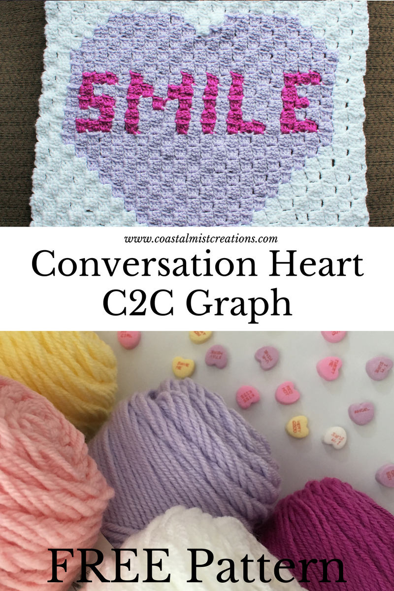 Corner to corner crochet Valentine\'s Day heart pattern (c2c ...