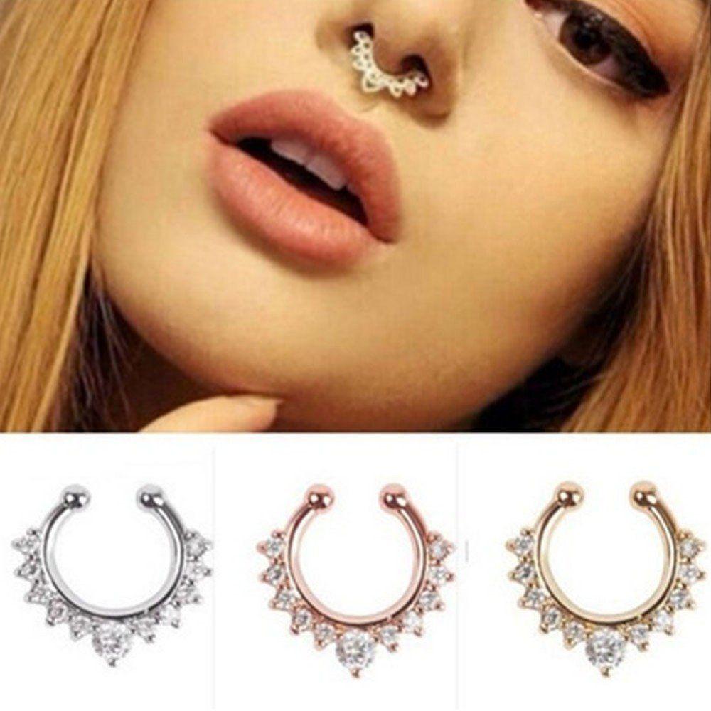 Double nose piercing plus septum   Fancy Titanium Crystal Fake Nose Ring Septum Nose Hoop Ring