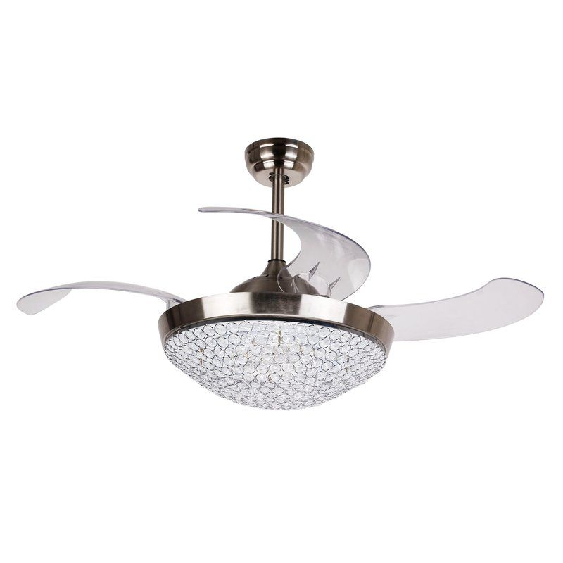 46 Elaine 4 Blade Led Ceiling Fan With Remote With Images Chrome Ceiling Fan Ceiling Fan Light Kit Ceiling Fan With Light