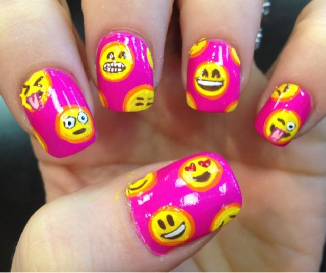 Emoji / emoticon /smilie nail art design by Nailed Daily   Hare ...