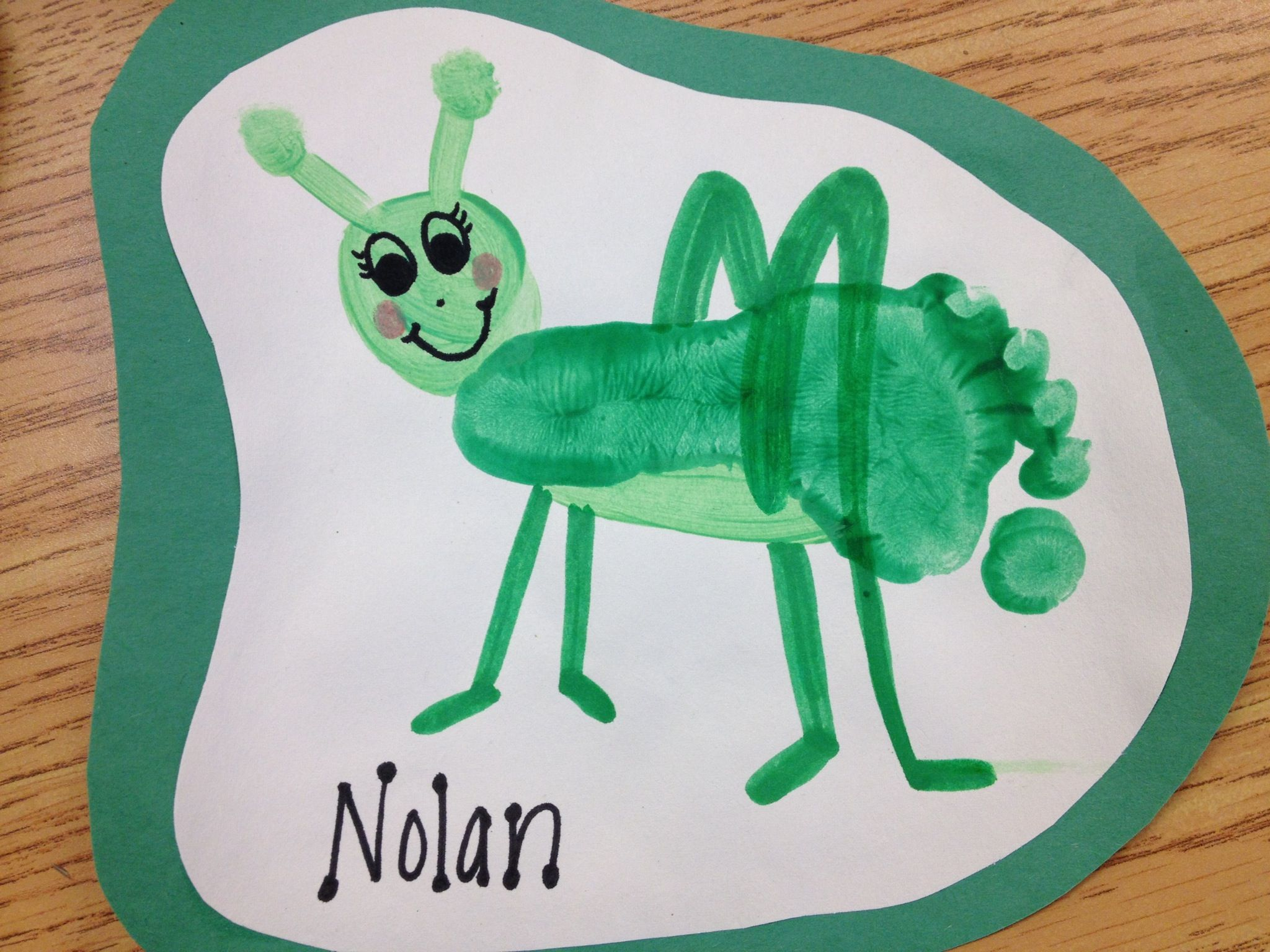 Footprint grasshopper hand and foot print art for Bugs arts and crafts