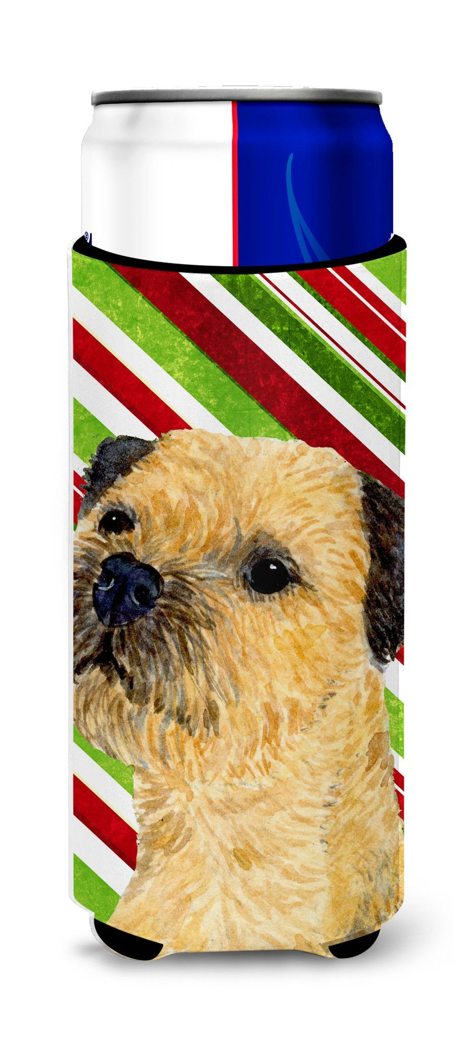 Border Terrier Candy Cane Holiday Christmas Ultra Beverage Insulators for slim cans LH9233MUK