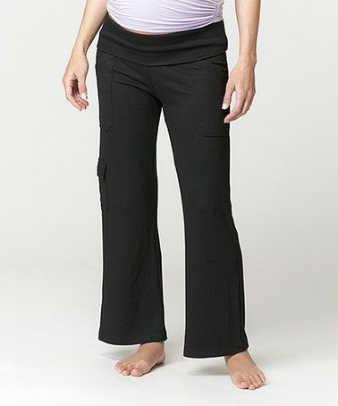 Another great find on #zulily! Black Leisure Under-Belly Maternity Cargo Yoga Pants - Women #zulilyfinds