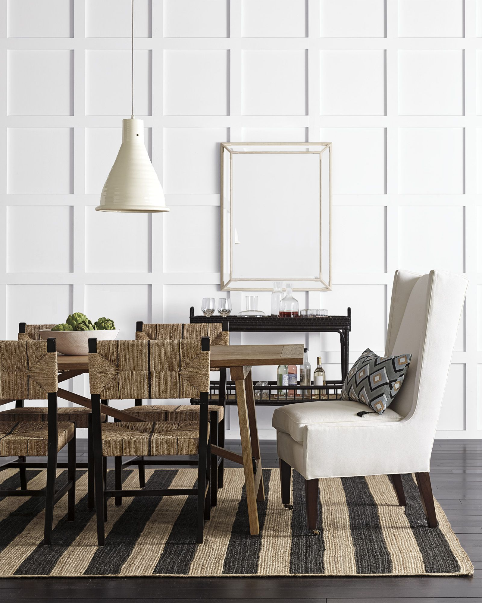 Natural Meets Modern Dining Room Via Serena Lily Dining Room Rug Black Dining Room Chairs Dining Room Inspiration #striped #chairs #living #room