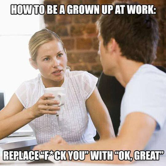 How To Be A Grown Up At Work | Work humor, Work memes, Funny quotes