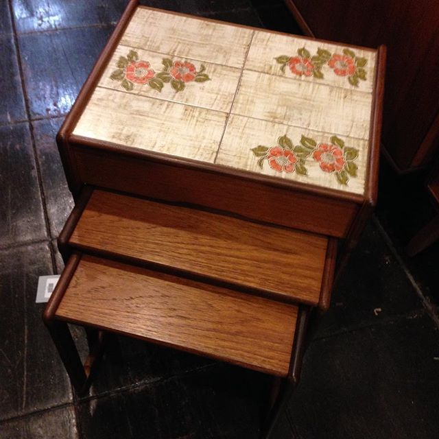 New Models for 1979! #tiletop and #drawer in #nesttables designed by #H.D.Ryles for #egomme #gplan #availablenow #littleitalysd off the #i5freeway