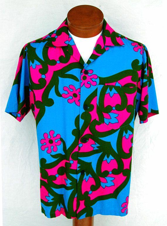 c068158e1cc Vintage Vibrant Hawaiian Barkcloth Shirt Men M Textured Cotton Abstract  Aloha Fumi s Waikiki Neon Pink Psychedelic Clothing