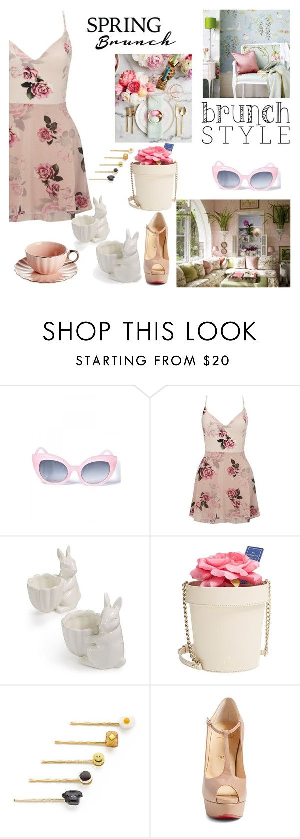 """""""Spring Brunch"""" by nicolevalents ❤ liked on Polyvore featuring Crap, Lipsy, Martha Stewart, Kate Spade, Venessa Arizaga and Christian Louboutin"""