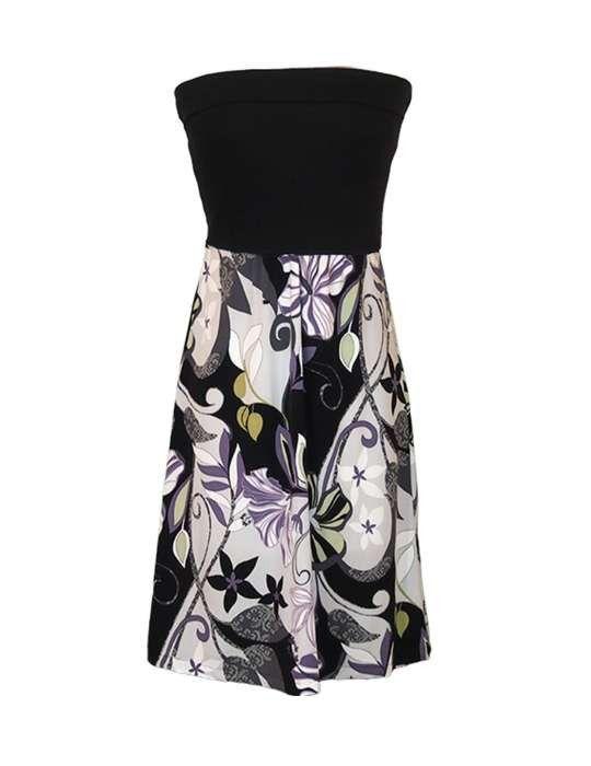 Short Aloha Knit Top Dress Black Floral Retro Cute Strapless
