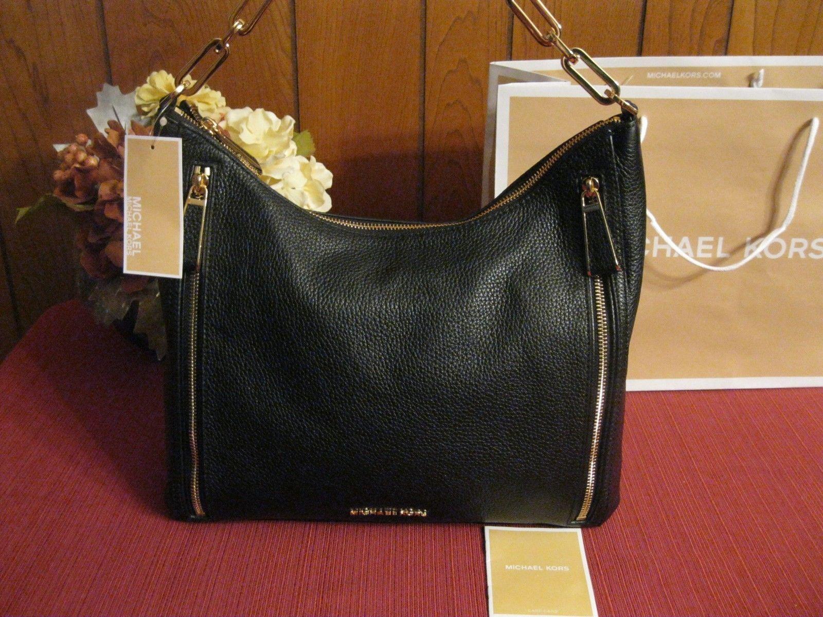 bbaaf7023a84 NWT Michael Kors Matilda Large Pebble Leather Shoulder Bag Hobo Black MSRP   328