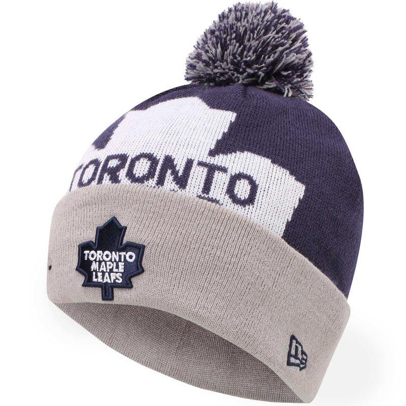 3914866cc84 Toronto Maple Leafs New Era Woven Biggie 2 Knit Hat - Navy Blue ...