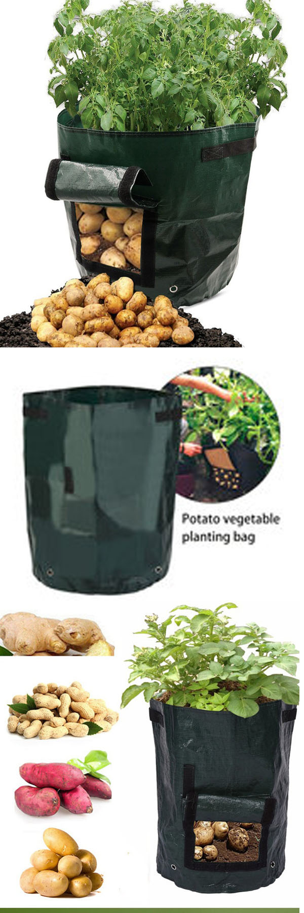 50L Large Capacity Potato Grow Planter PE Container Bag Pouch Tomato
