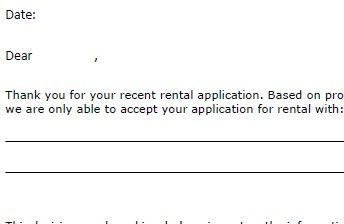 Free Conditional Acceptance Letter To Give Your Rental Applicant