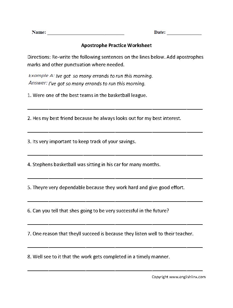 Apostrophe Practice Worksheets Eyes Pinterest Punctuation