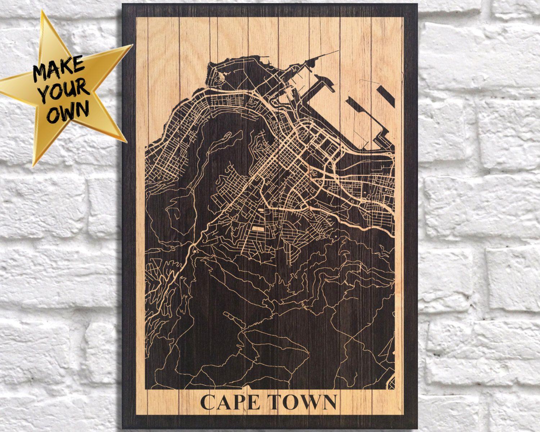 Cape town city map travel art wood art wood wall art decor dorm wall