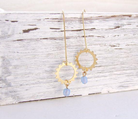 Clock parts earrings Gold dangle earrings Beaded by YaelSteinberg, $26.90